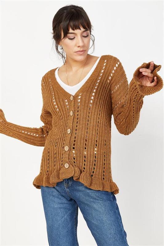 Women Brown Sweater Cardigan Advanced Flywheel - Women's Cardigan