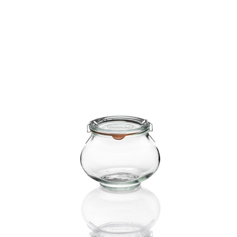 6 Bocaux en verre Weck Fête® 560 ml avec couvercles en verre et joints (clips no - Bocaux WECK FÊTE®