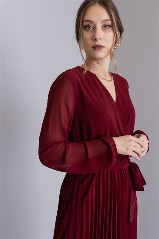 Women's Chiffon Dress Length Midi Bordeaux - Midi Dress