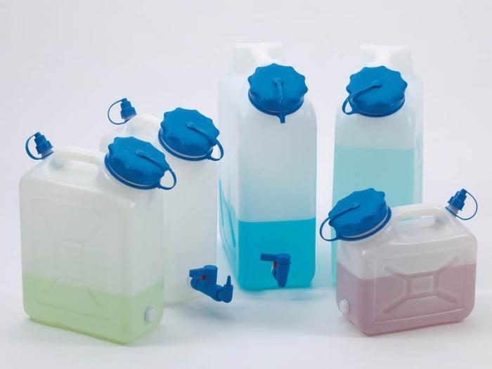Recipientes de cuello ancho con/sin conectores de rosca - Bote, HDPE, transparente, con/sin conector roscado