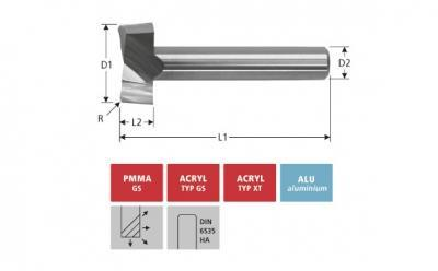 Milling Tools: for PMMA- and PC-plastics - solid carbide face milling cutter with double flute