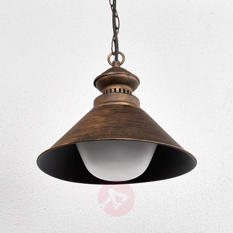 Outdoor hanging lamp Millane, black-gold - Outdoor Pendant Lighting