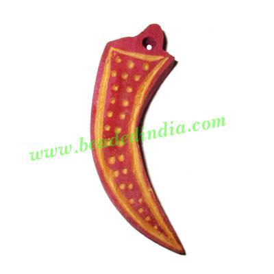 Handmade wooden fancy pendants, size : 46x14x7mm - Handmade wooden fancy pendants, size : 46x14x7mm