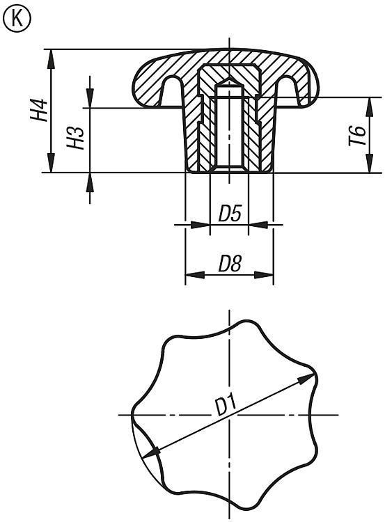 Bouton étoile en plastique similaire à DIN 6336, avec... - Poignées et boutons