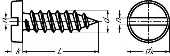 VIS À TÔLE TÊTE CYLINDRIQUE LARGE FENDUE INOX A2 - DIN 7971 - ISO 1481 (212401)