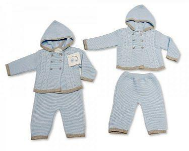 Spanish Style Knitted Baby Boys Hooded 2 Pieces Set -
