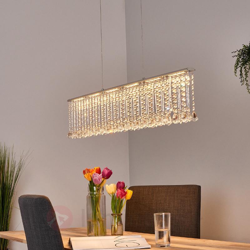 Suspension rampe LED parsemée de cristal Jemaine - Suspensions en cristal
