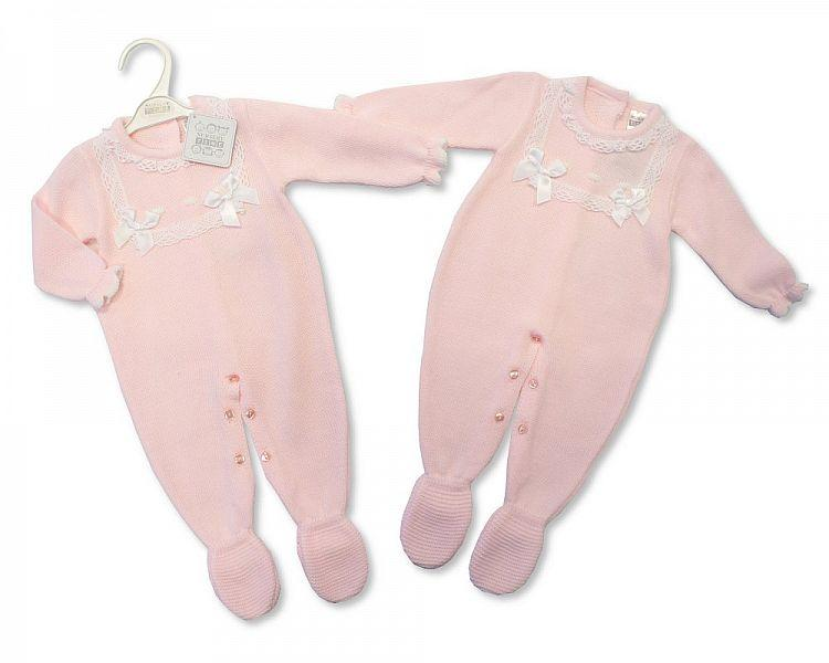 Spanish Style Knitted Baby Girls All in One with Lace -