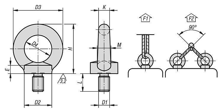 Anneau de levage mâle DIN 580 / en inox similaire à DIN 580 - Anneaux de levage fixes et pivotants, anneaux à broche autobloquante
