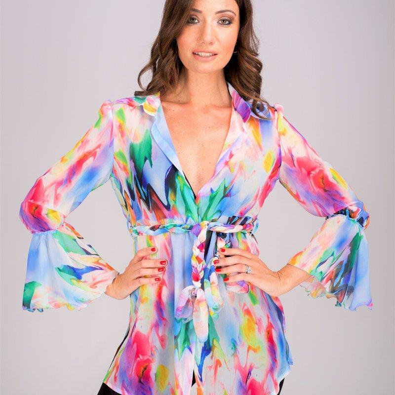 """Camicia casual donna - Cinturino nello stesso tessuto colore """" neon"""""""