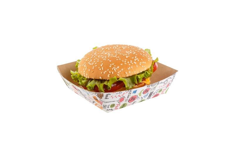 """Fast food trays «Enjoy» - Kraft trays for fast food with """"Enjoy"""" print"""