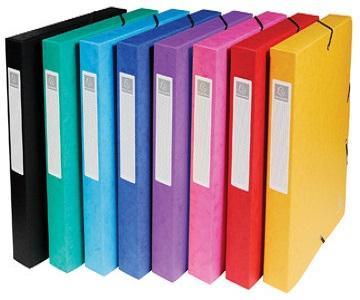 Exacompta elastobox Exabox  - 8 geassorteerde kleuren: geel, rood, roze, paars, blauw, turquoise, groen ...