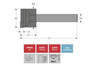 Milling Tools: for PMMA- and PC-plastics - MCD face milling cutter