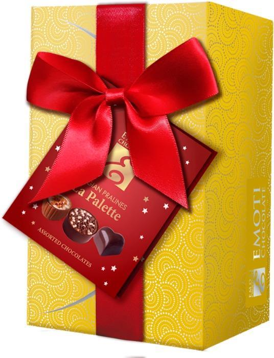 EMOTI Gold Ballotin Assorted Chocolates, Gift packed 190g. -