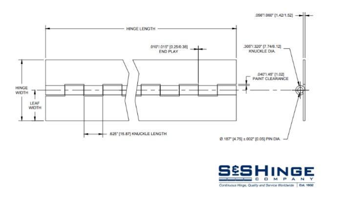 Hinges - 1200 Series - CAD files - 1213x96