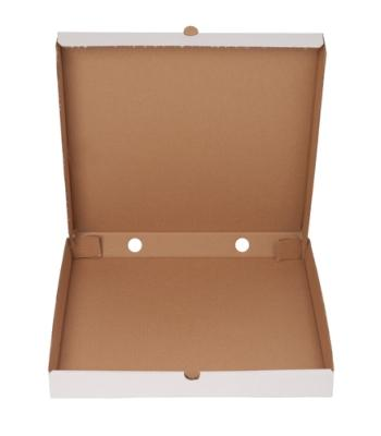 Pizza Box  - Front lock box. Your own brand. White/Brown. Various Fluting available.