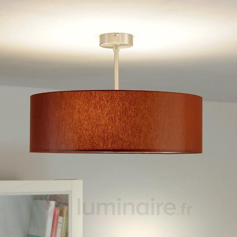 Plafonnier LED Gala abat-jour chintz marron - Plafonniers en tissu