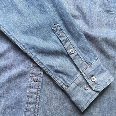 Men's casual denim shirt  Stonewashed dark blue -