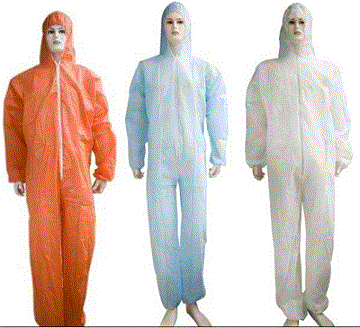 Disposable microporous coverall - Color: blue, white, green, yellow  Material: PP nonwoven material / PE film