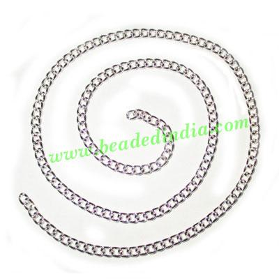 Silver Plated Metal Chain, size: 1x3mm, approx 40.7 meters i - Silver Plated Metal Chain, size: 1x3mm, approx 40.7 meters in a Kg.