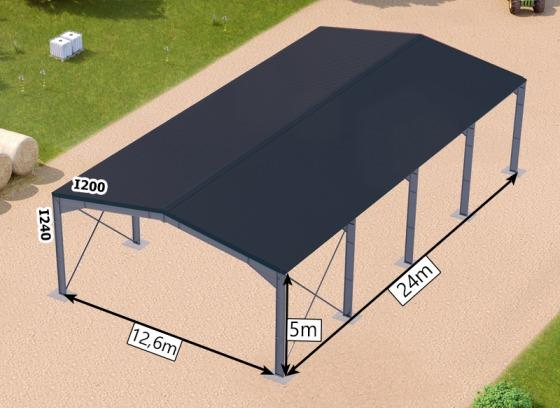 Galvanized steel framed building + roofting sheets with 5 re -