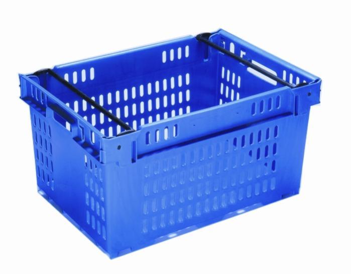 Contenitore in plastica inserible e sovrapponibile  - sovrapponibile su archi posizionabili, 53L (chiuso  e /o forate)