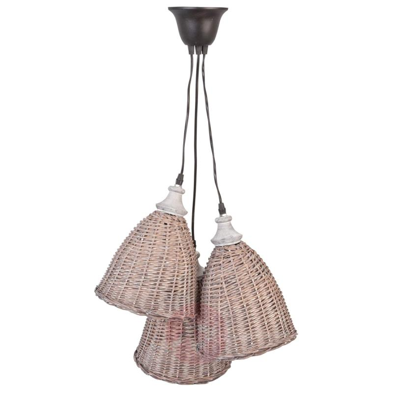 3-bulb wicker hanging light Risp - indoor-lighting