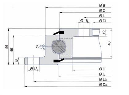Slewing bearing with flange