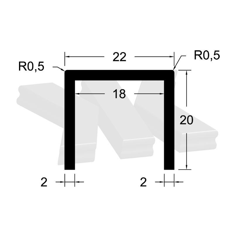 Glass edge protection profile 20x22x20x2mm, anodized - U-profiles