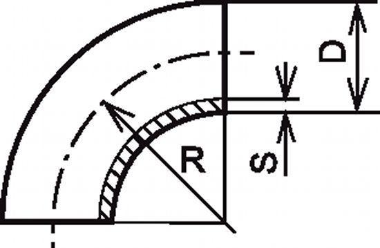 COUDE À 90° 1,5 D SANS PARTIE DROITE - INOX 304 - 316 L (61211)