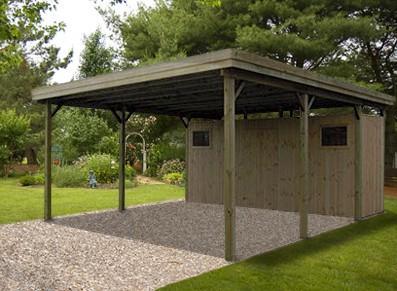 carport double en bois avec atelier toit plat france abris france. Black Bedroom Furniture Sets. Home Design Ideas