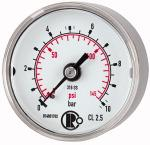 Standard pressure gauge, CrNi steel, G 1/4, 0 - 100 bar, 50 - Pressure gauge, CrNi steel, standard type, connection on rear, centrical