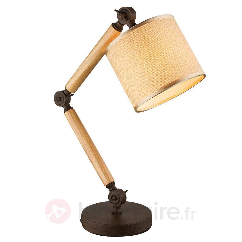 Lampe à poser Laarni bois, abat-jour en tissu - Lampes de bureau