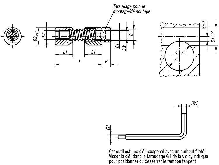 Tampon tangent pour pièce cylindrique - Poussoirs latéraux à ressort