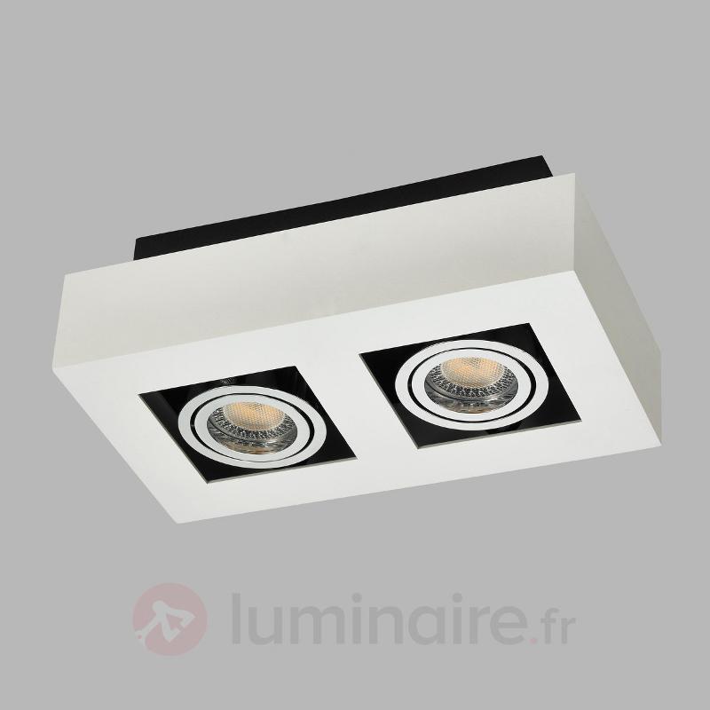 Spot LED carré Vince à deux lampes, blanc - Plafonniers LED