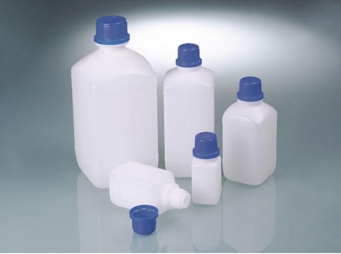 Botellas de cuello estrecho para productos químicos - Botella de plástico, polietileno de alta densidad, transparente