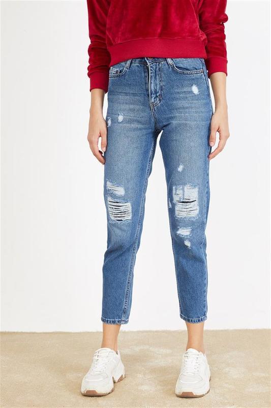 Women's Blue Jeans Torn Effect Mode - Women's Jeans (Jean)