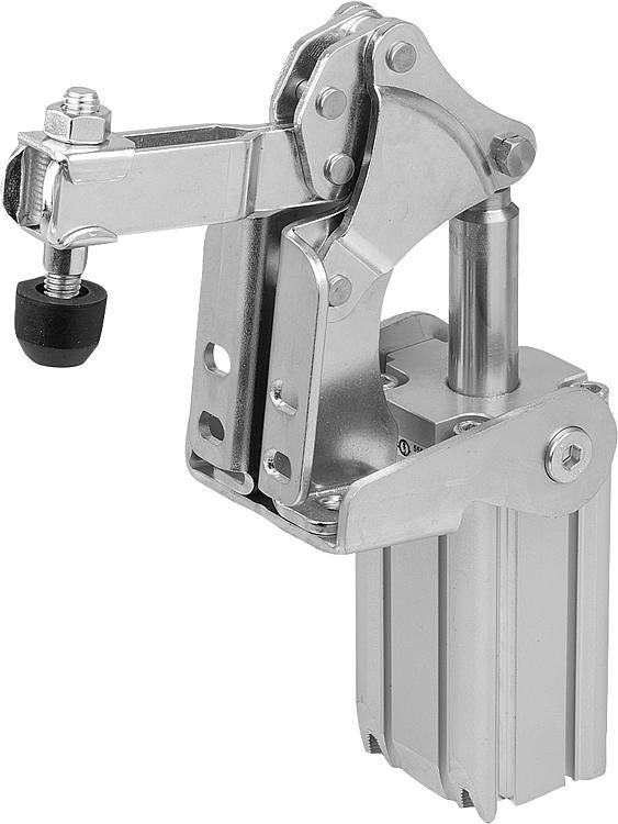 Vertical Pneumatic Clamps With Vertical Cylinder Bracket - Toggle clamps Pneumatic clamps Accessories for clamps Latches Quarter-turn locks
