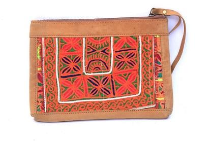 Vintage Hand Embroidery Leather Evening Clutch