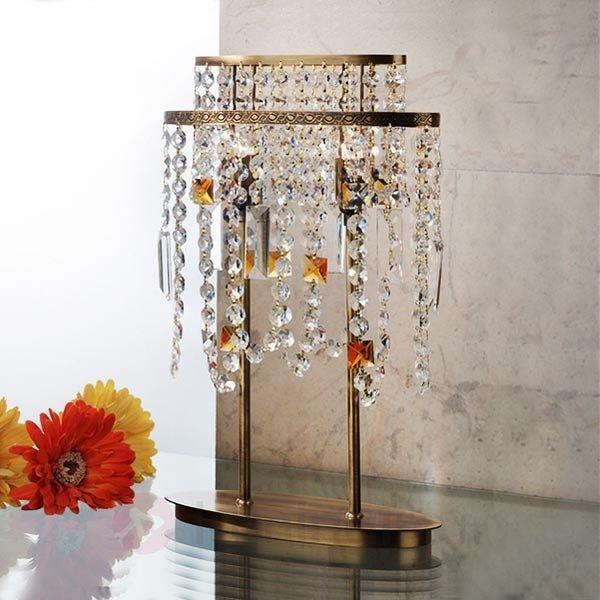Lampe à poser de cristal Jevana finition patinée - Lampes à poser en cristal
