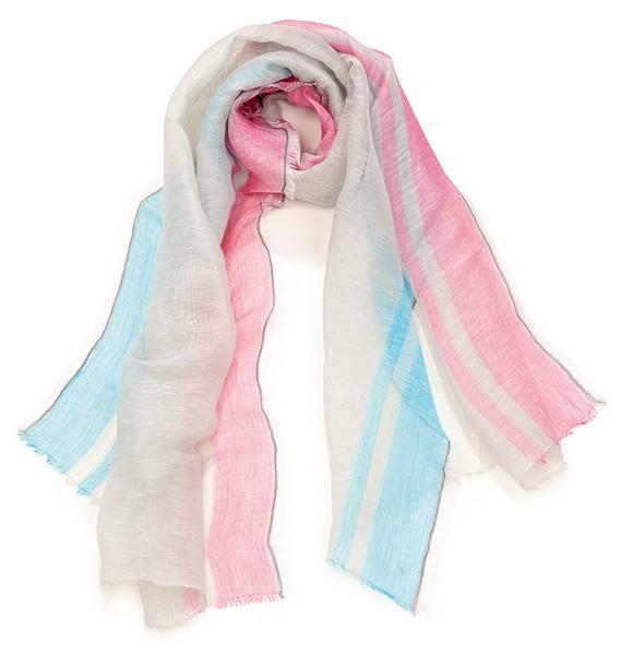 Etole jacquard bord couleur - col 3 - bleu rose