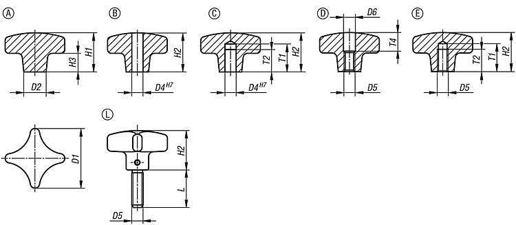 Écrou croisillon en aluminium, similaire à DIN 6335 - Poignées et boutons