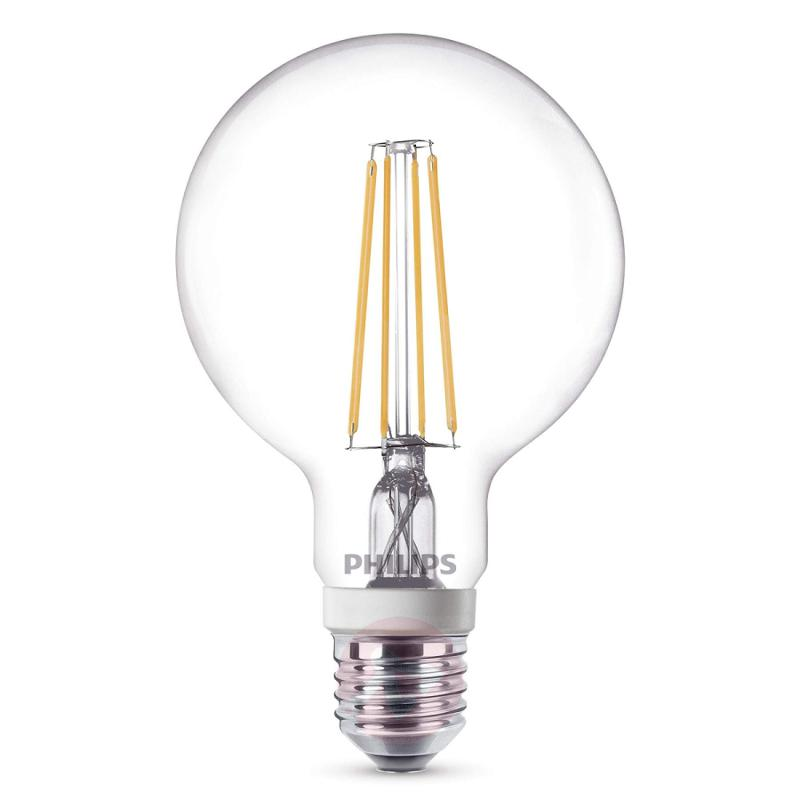 E27 7W 827 LED globe lamp G95 clear, dimmable - light-bulbs
