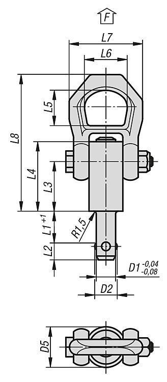 Anneau de levage à broche autobloquante, inox - Anneaux de levage fixes et pivotants, anneaux à broche autobloquante
