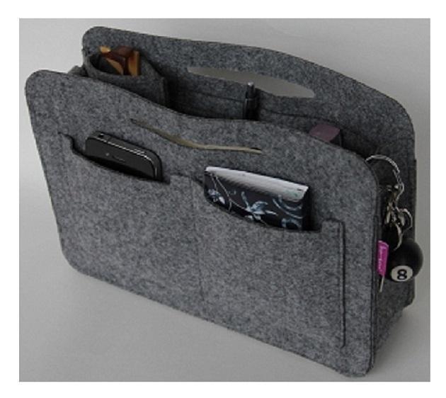 Taschenorganizer aus Filz Grau