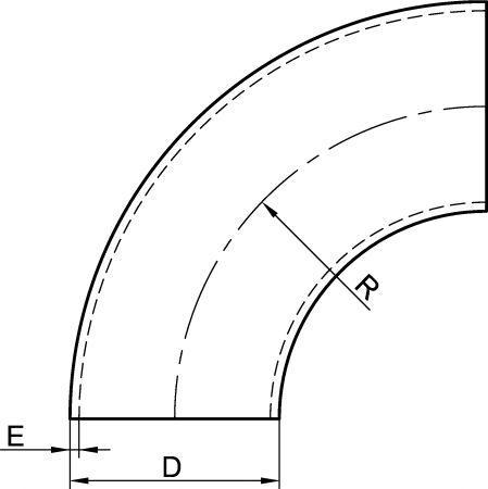 62211 COUDE À 90° SANS PARTIE DROITE POLI SATINÉ - Accessoires de tuyauterie DIN