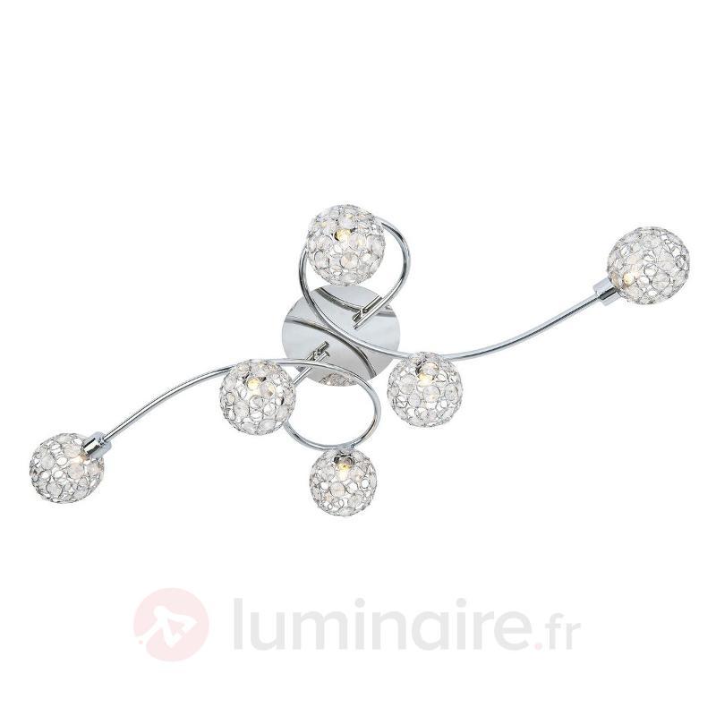 Plafonnier à six lampes Carlo - Plafonniers chromés/nickel/inox