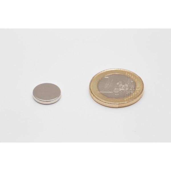 Neodymium disc magnet 15x3mm, N45, Ni-Cu-Ni, Nickel coated - Disc