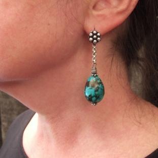 Boucles d'oreilles - Argent, turquoise, Inde