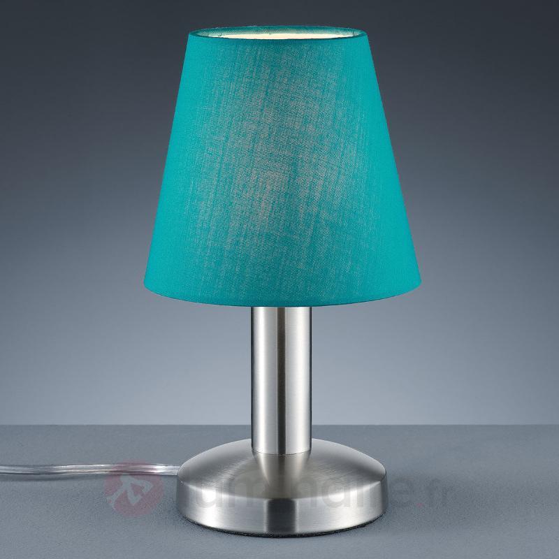 Lampe à poser turquoise Merete, fonction tactile - Lampes de chevet